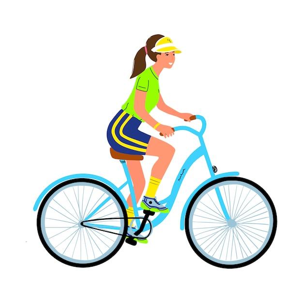 Jonge vrouw op fiets Premium Vector