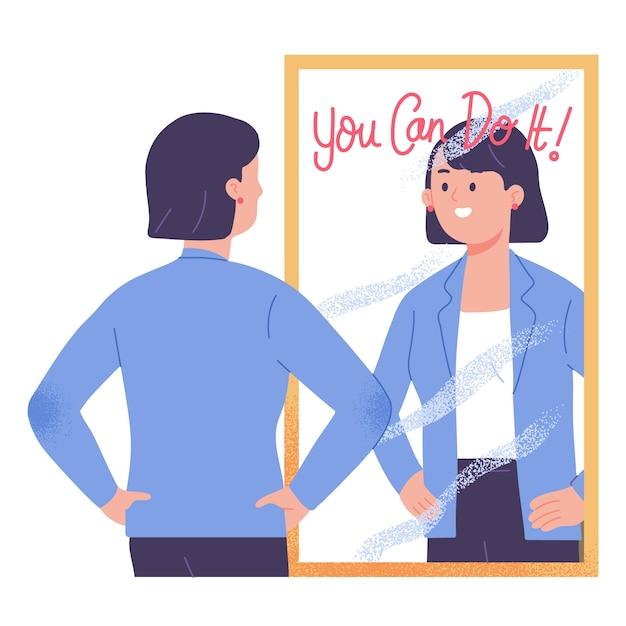 Jonge vrouw staande voor spiegel motiveren en vertrouwen dat u het vectorillustratie kunt doen Gratis Vector