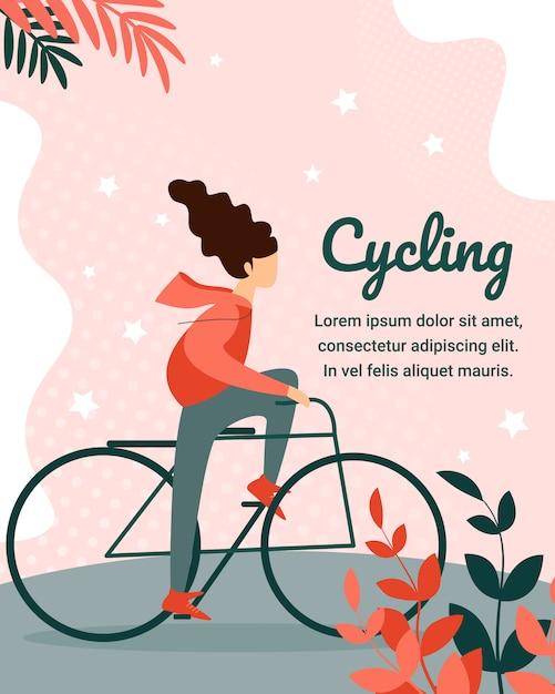 Jonge vrouw teken paardrijden fiets op stadspark Premium Vector