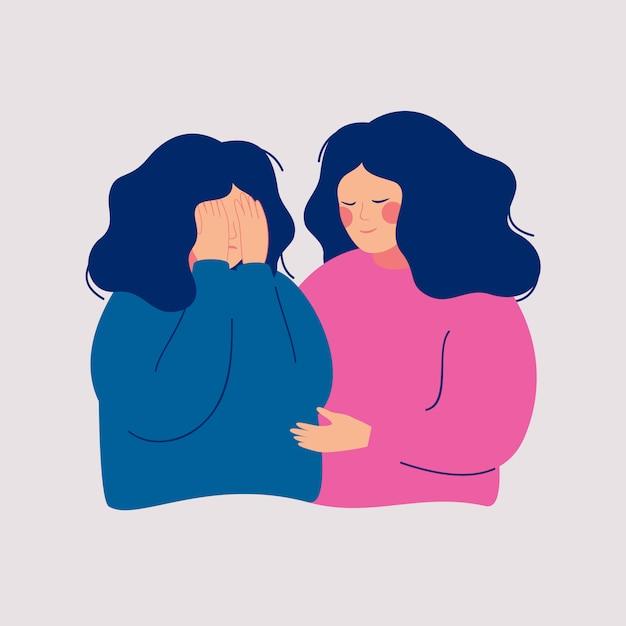 Jonge vrouw troost haar huilende beste vriend. help en ondersteuning concept. Premium Vector