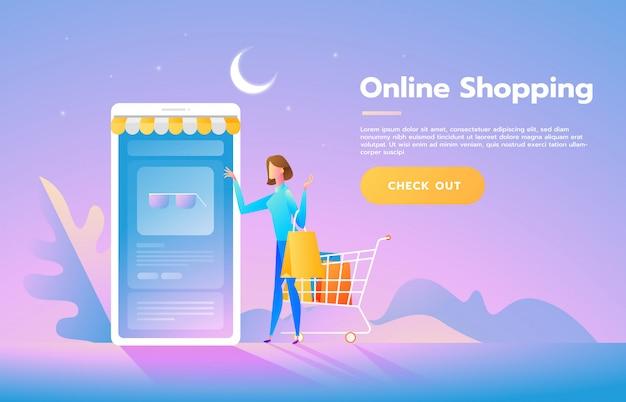 Jonge vrouw winkel online met behulp van smartphone Premium Vector