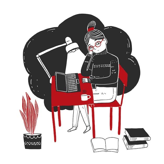Jonge vrouw zitten en werken met een laptop Premium Vector