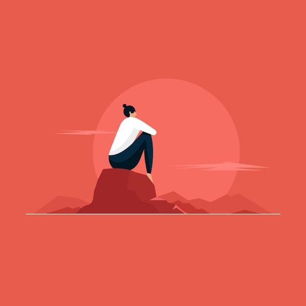 Jonge vrouw zittend op de rotsen en genieten van het uitzicht op de bergtop Premium Vector