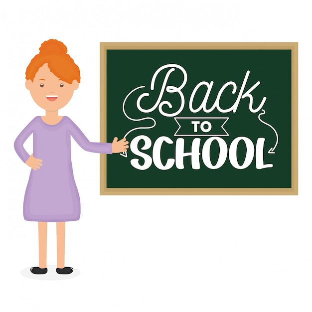 Jonge vrouwelijke leraar met schoolbord. terug naar school Gratis Vector