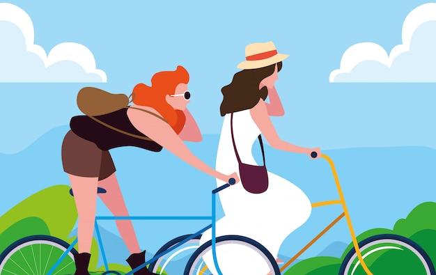 Jonge vrouwen die fiets met landschap berijden Premium Vector