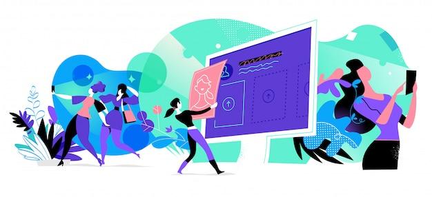 Jonge vrouwen die interactie hebben met digitale apparaten Premium Vector