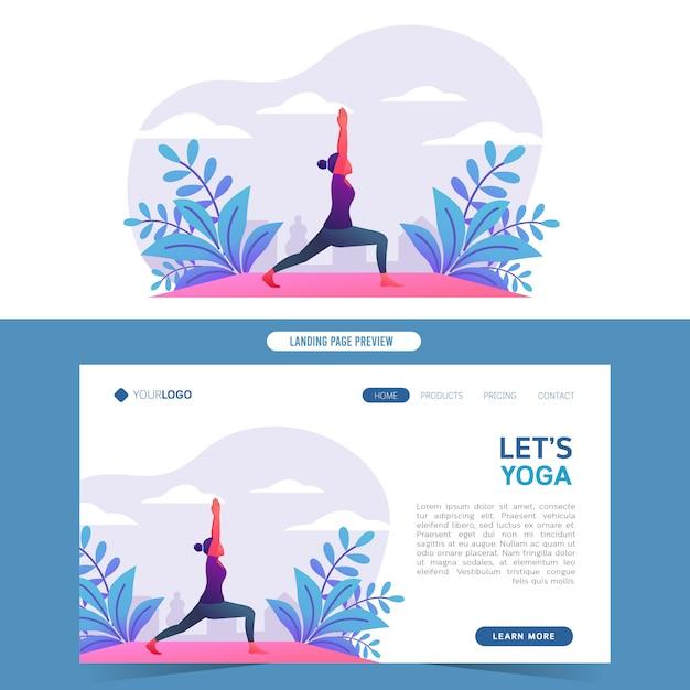 Jonge vrouwen die yoga in aard voor web het landen doen Premium Vector