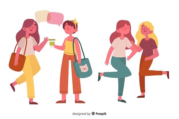 Jonge vrouwen geïllustreerd hangen Gratis Vector