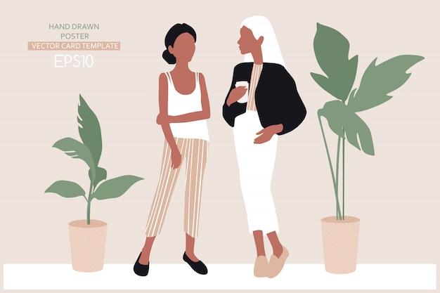 Jonge vrouwen gekleed in trendy kleding Premium Vector