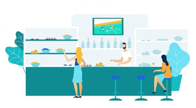 Jonge vrouwen in de bar, pub vlakke afbeelding Premium Vector