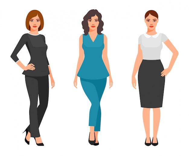 Jonge vrouwen in elegante kantoorkleding Premium Vector