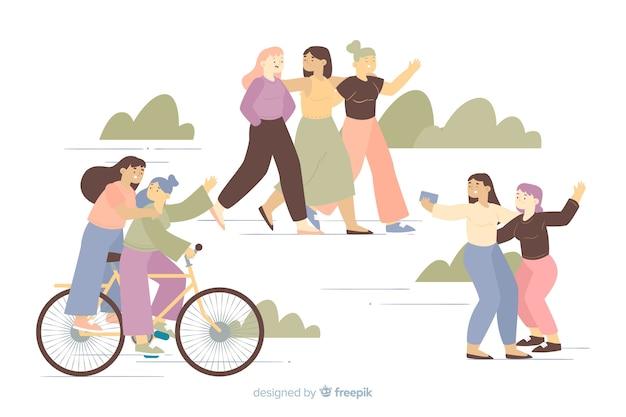 Jonge vrouwen maken leuke activiteiten samen tijd Gratis Vector