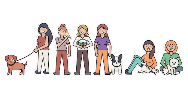 Jonge vrouwen met schattige katten- en hondenmascottes Gratis Vector