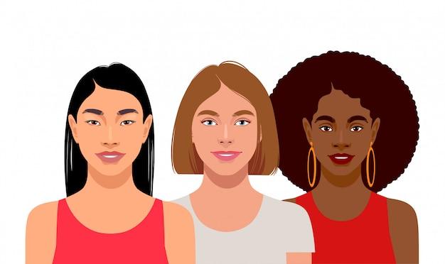 Jonge vrouwen met verschillende huidskleuren Premium Vector