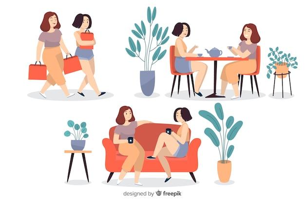 Jonge vrouwen samen tijd doorbrengen Gratis Vector
