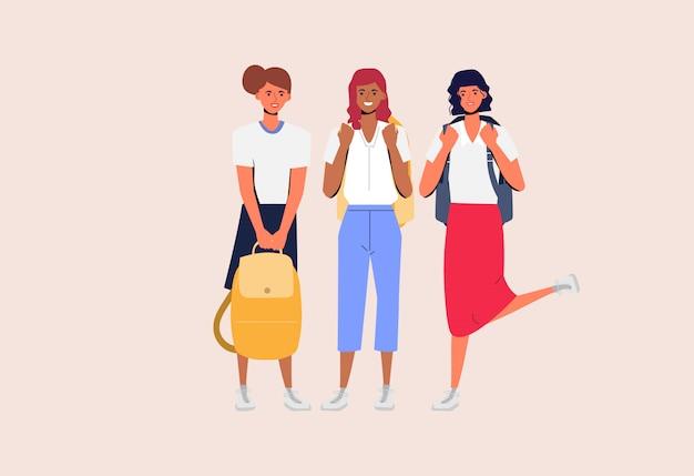 Jonge vrouwen zijn geleerde studenten met vriendschap. Premium Vector