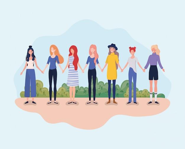 Jonge vrouwengroep die zich in het kamp bevinden Gratis Vector