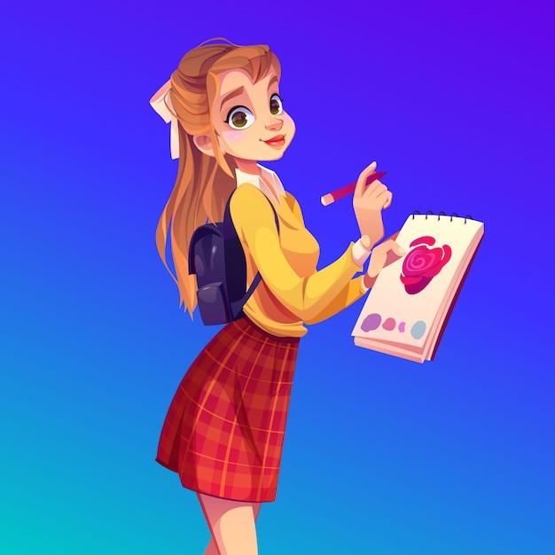 Jonge vrouwenschilder met notitieboekje en potlood Gratis Vector