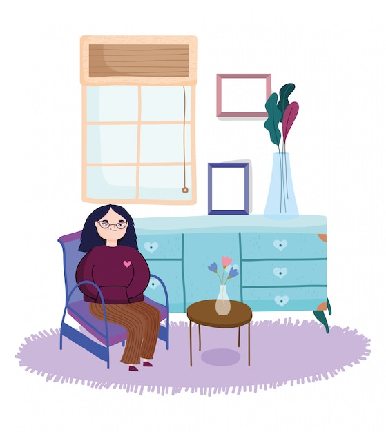 Jonge vrouwenstoel met het frame van de ladetafel decoratie Premium Vector