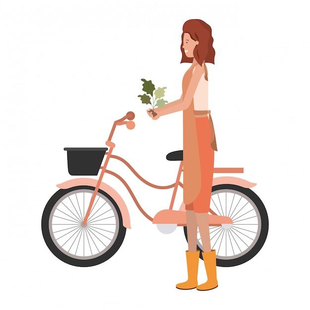 Jonge vrouwentuinman op fietsavatar karakter Premium Vector