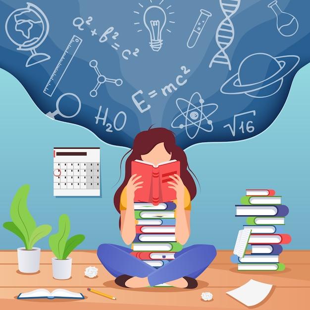 Jonge vrouwenzitting gelezen boek en het denken over formules Premium Vector