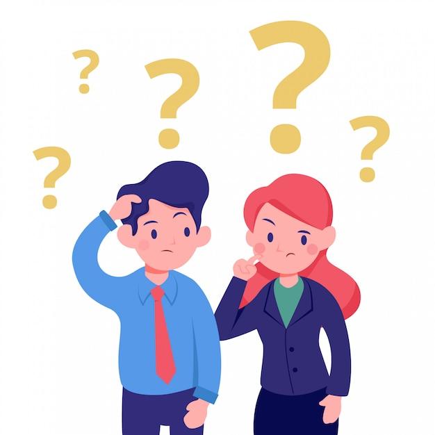 Jonge zakenman en vrouw verward denken kantoor illustratie Premium Vector