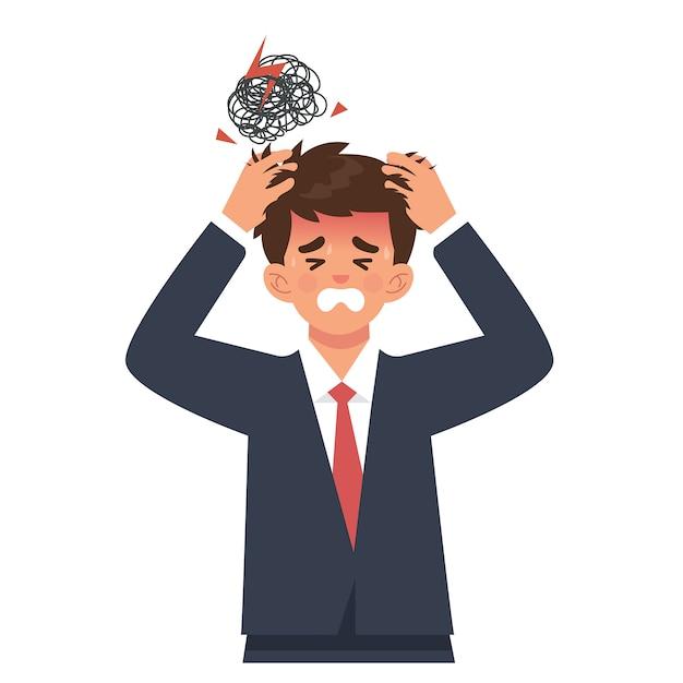 Jonge zakenman houdt hoofd vanwege hoofdpijn of overbelasting Premium Vector