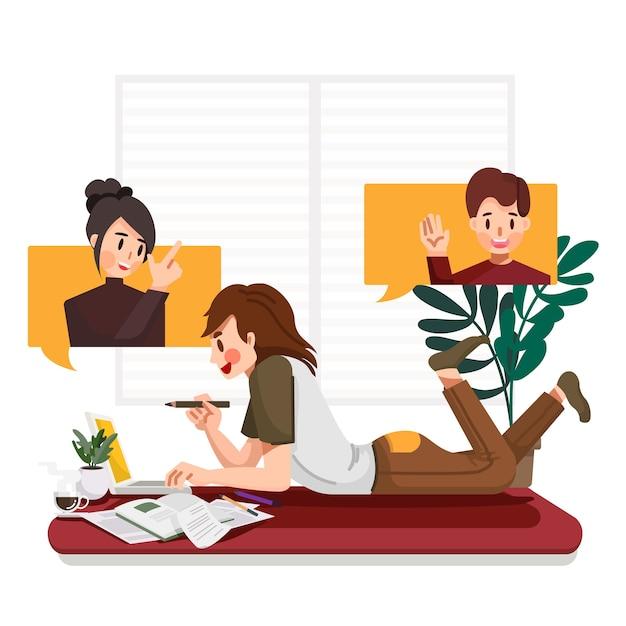 Jonge zakenman tot op de vloer in de woonkamer videoconferentie online bijeenkomst met zijn teamgenoot of collega's werken vanuit huis tijdens virusepidemie Premium Vector