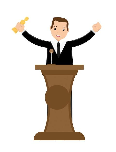 Jonge zakenman winnende prijs Premium Vector