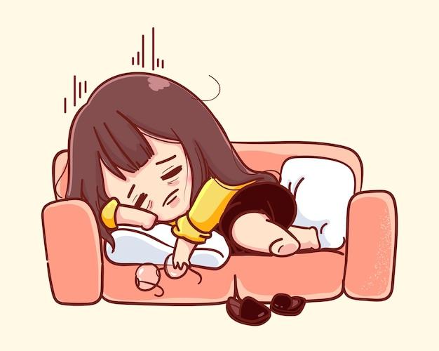 Jonge zakenvrouw gevoel uitgeput en overwerkt, stress van overuren werken concept. cartoon illustratie Premium Vector