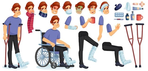 Jonge zieke, gehandicapte of gewonde man geanimeerde tekenset maken. Premium Vector