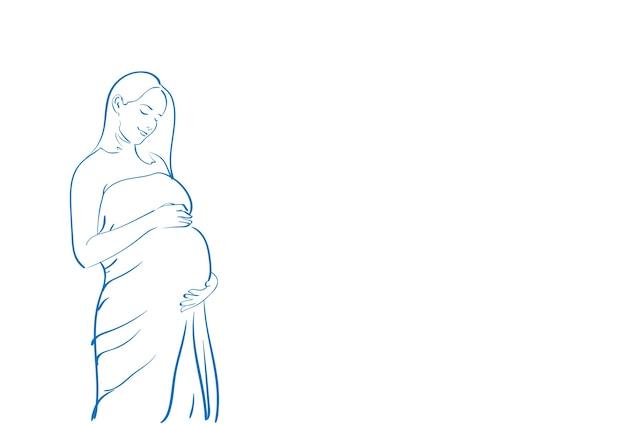 Jonge zwangere vrouw skecth simple line vector illustration Premium Vector