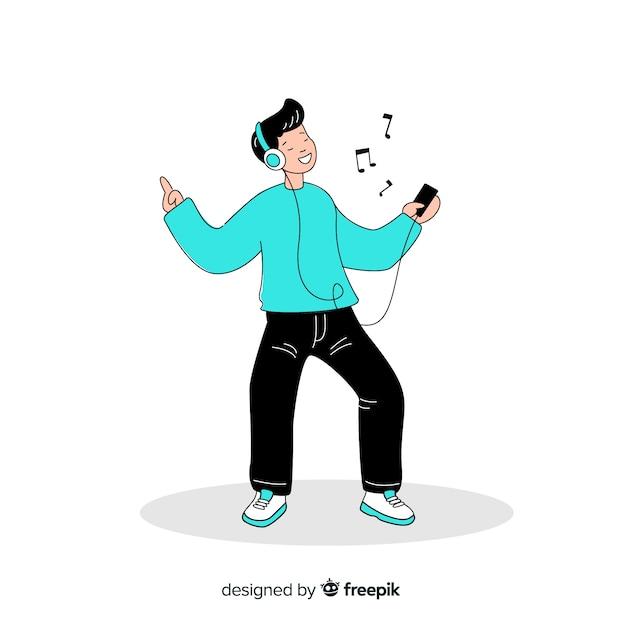 Jongelui die aan muziek in de koreaanse tekening van de tekeningsstijl luisteren Gratis Vector