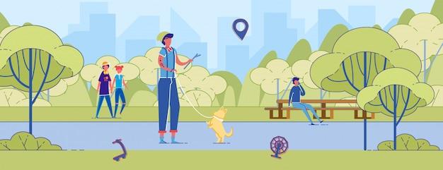 Jongeman spelen met corgi in park training dog Premium Vector