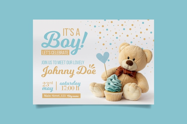 Jongen baby shower uitnodiging met beer Premium Vector