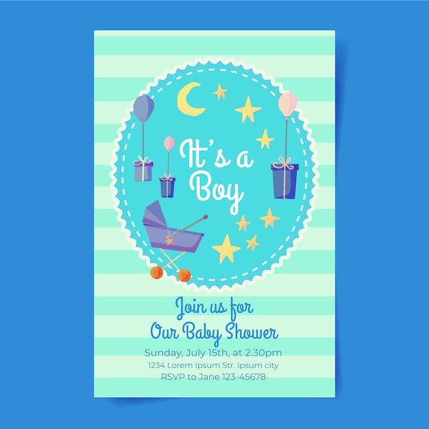 Jongen baby shower uitnodiging sjabloon Gratis Vector