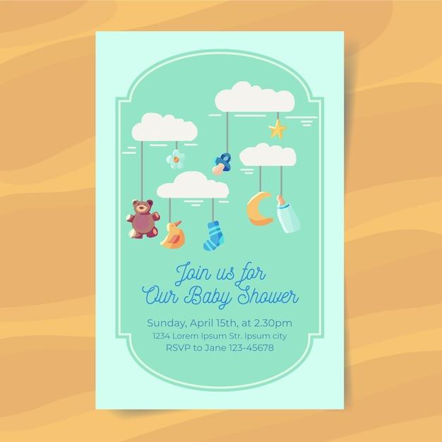 Jongen baby shower uitnodiging Gratis Vector
