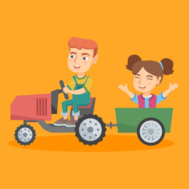 Jongen die een tractor met zijn vriend in aanhangwagen drijft. Premium Vector