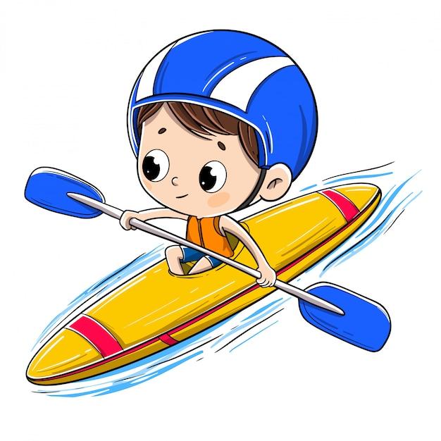 Jongen die in een kano met een helm berijdt Premium Vector