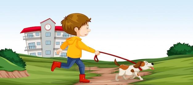Jongen die zijn hondscène loopt Gratis Vector