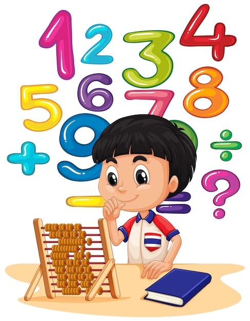 Jongen doet wiskunde met telraam Gratis Vector
