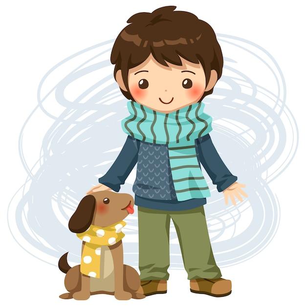 Jongen en hond vector Premium Vector