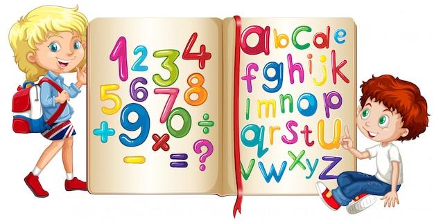 Jongen en meisje door boek van cijfers en alfabetten Gratis Vector