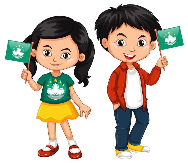 Jongen en meisje houden vlag van macau Gratis Vector