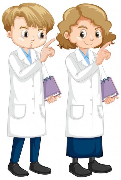 Jongen en meisje in de laboratoriumnotitieboekje van de laboratoriumtoga Gratis Vector