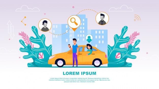 Jongen en meisje in gele auto carpool. Premium Vector