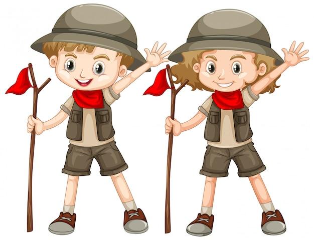 Jongen en meisje in safari-outfit met rode vlag Gratis Vector