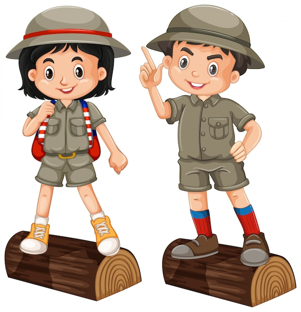 Jongen en meisje in safariuitrusting op witte achtergrond Premium Vector