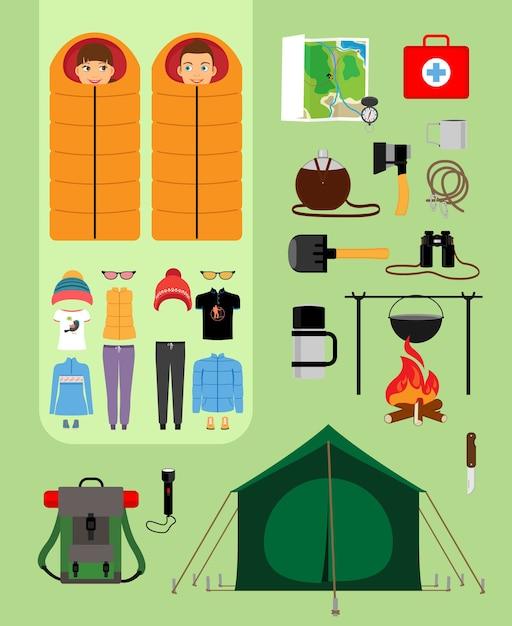 Jongen en meisje in slaapzakken naast tent met kampvuur en rugzak. voorzieningen voor toerisme, recreatie, survival in het wild. vector illustratie Gratis Vector