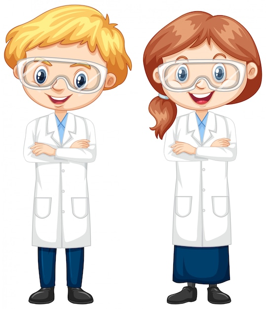 Jongen en meisje in wetenschapstoga Gratis Vector